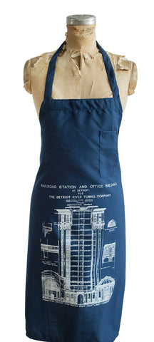 Detroit Train Station Blueprint White on Navy Chef Apron, Well Done Goods
