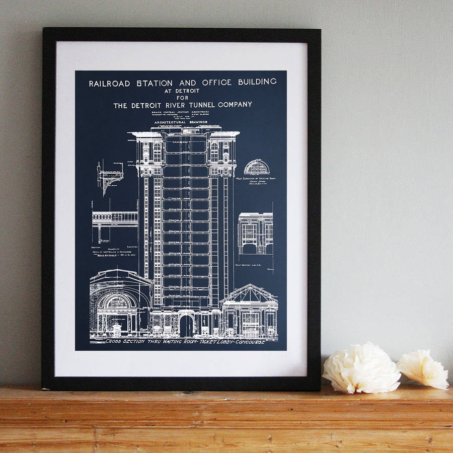 Detroit train station silkscreen blueprint poster 19x 25 detroit train station blueprint navy blue art print at well done goods malvernweather Images