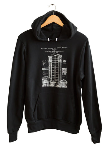 MCS Detroit Train Station Blueprint White on Black Unisex Pullover Hoodie, Well Done Goods