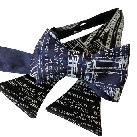 MCS Blueprint Bow Tie, Detroit Train Station Tie, Well Done Goods