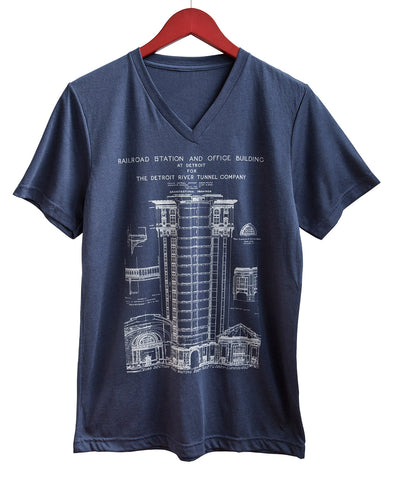 MCS Detroit Train Station Blueprint White on Navy V-Neck T-Shirt, Well Done Goods