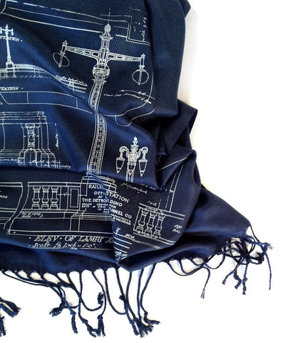 Blueprint Scarf: Ironwork Detail, Detroit Train Station. Navy blue. Well Done Goods by Cyberoptix