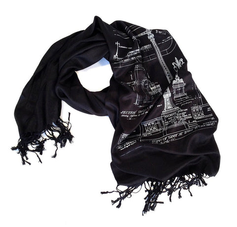 Blueprint Scarf: Ironwork Detail, Detroit Train Station. Black. Well Done Goods by Cyberoptix