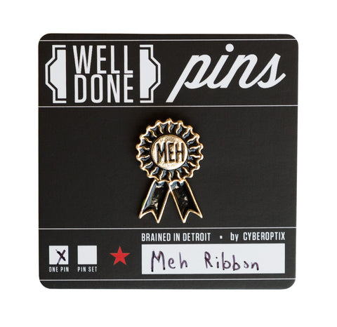 Meh Ribbon Enamel Pin, Well Done Goods