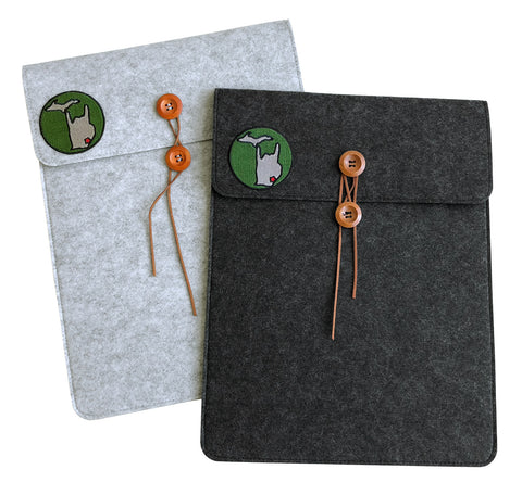 Metal Mitten Vegan Felt Laptop & Tablet Sleeve, Button Closure, Well Done Goods