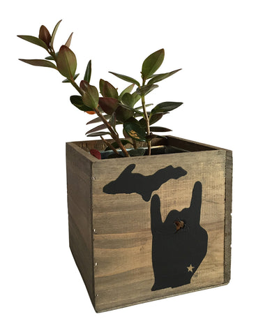 Solid Michigan Metal Mitten Reclaimed Wood Planter