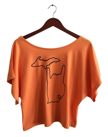 Metal Mitten: Detroit Rock City Women's Orange Crop Top, by Well Done Goods