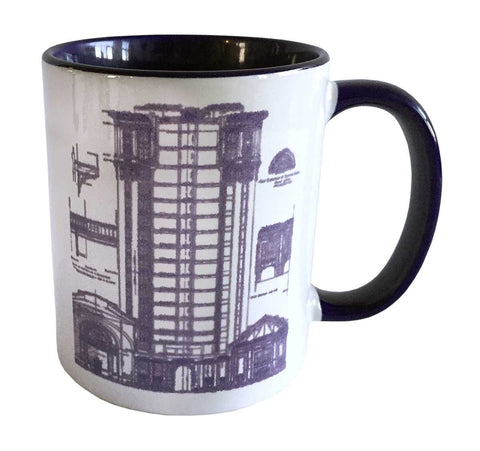 MCS Train Station Print Mug, Detroit Blueprint Coffee Cup, Well Done Goods