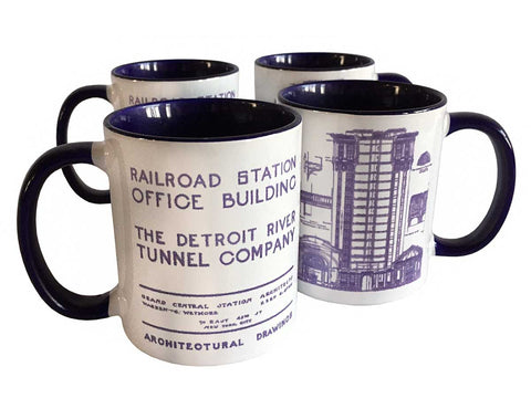 MCS Train Station Print Mug, Detroit Blueprint Black Handle Coffee Cup, Well Done Goods