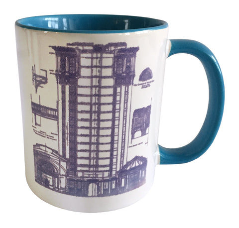 MCS Train Station Print Mug, Detroit Blueprint Light Blue Coffee Cup, Well Done Goods