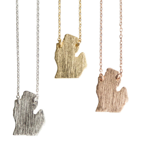 michigan lower peninsula necklace, well done goods