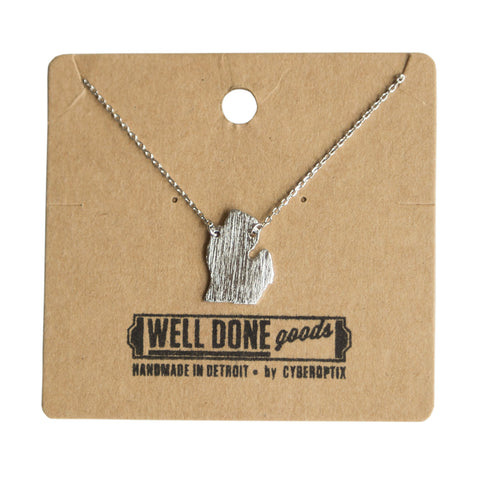Silver michigan lower peninsula necklace, well done goods