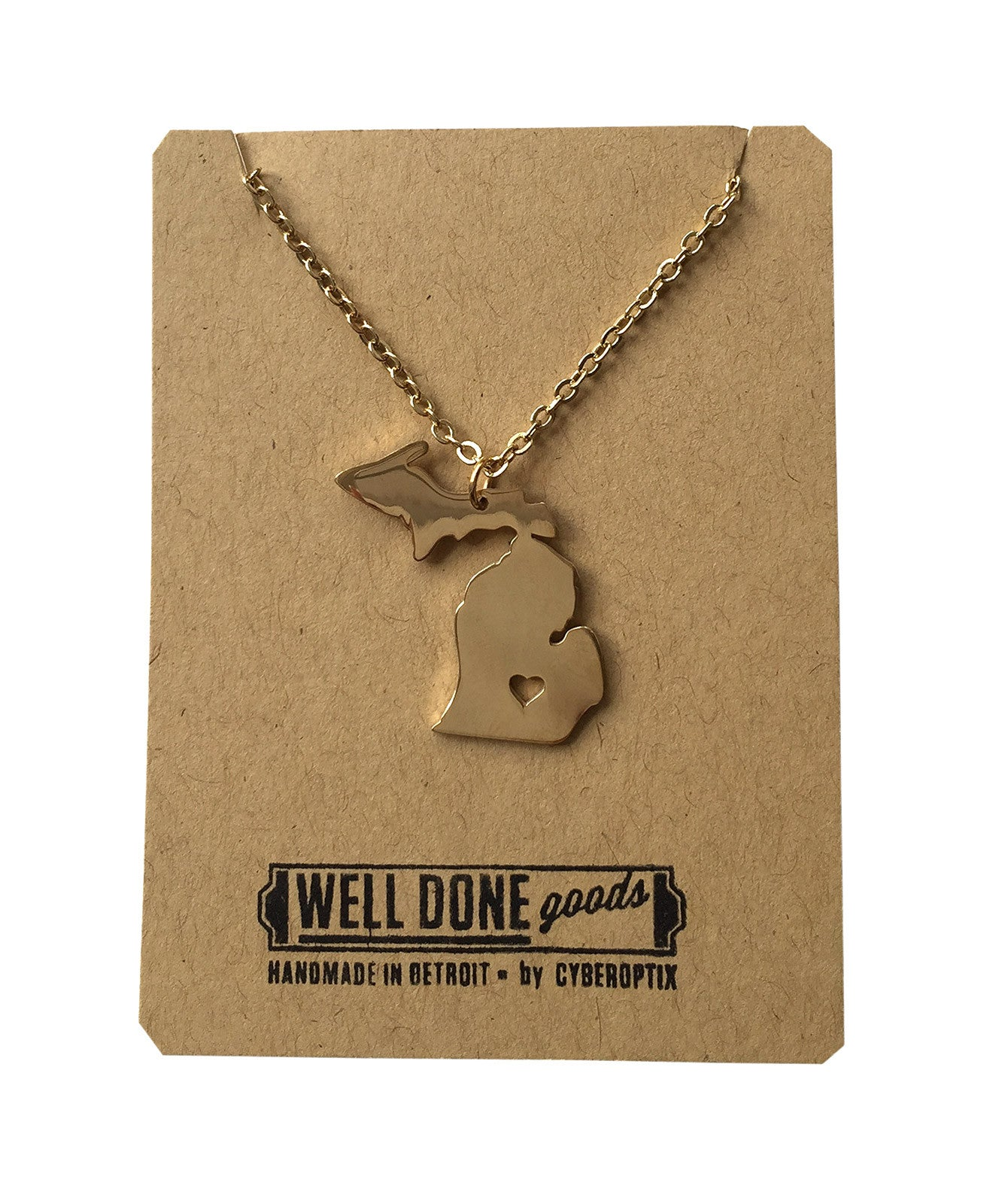 Michigan lower peninsula necklace gold michigan necklace state heart capital pendant well done goods malvernweather Images