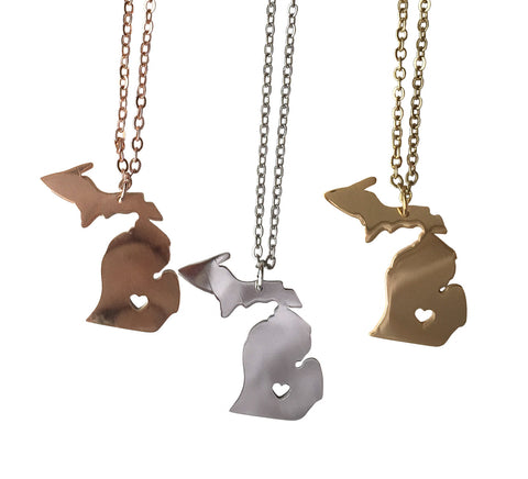 Michigan Necklace, State & Heart Capital Pendant. Rose gold, gold, silver. Well Done Goods