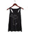 Metal Mitten Women's Tank Top, silver on black. Well Done Goods