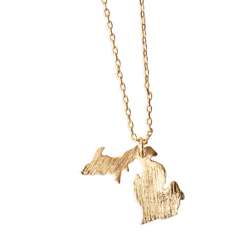 Michigan Peninsulas Gold Pendant Necklace, Well Done Goods