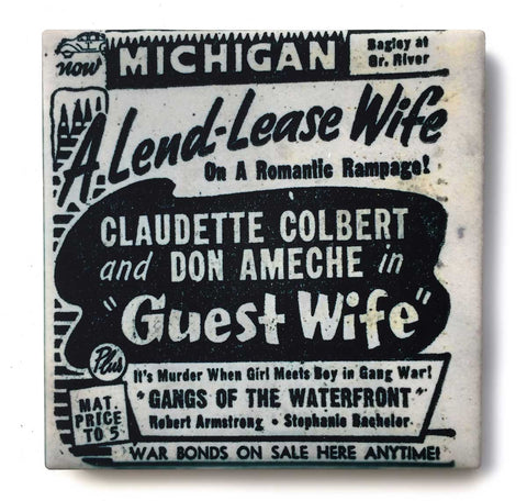 Michigan Theatre Detroit, Pulp Movie Print Drink Coaster, Well Done Goods