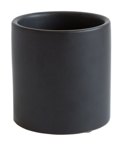 Matte Black Mini Cylinder Ceramic Planter, Well Done Goods