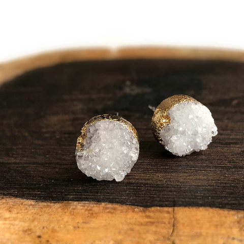 Small Round Druzy Stud Earrings, Milky Quartz, by Well Done Goods