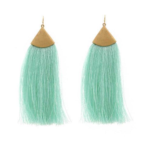 Mint Green Tassel Earrings, Brass Triangle Accent. Well Done Goods