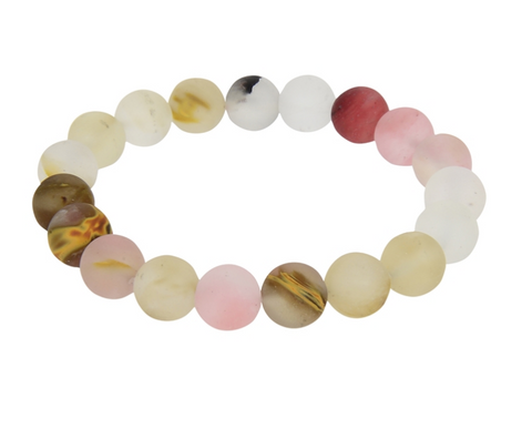 Mixed Quartz Stone Bead Mala Bracelet
