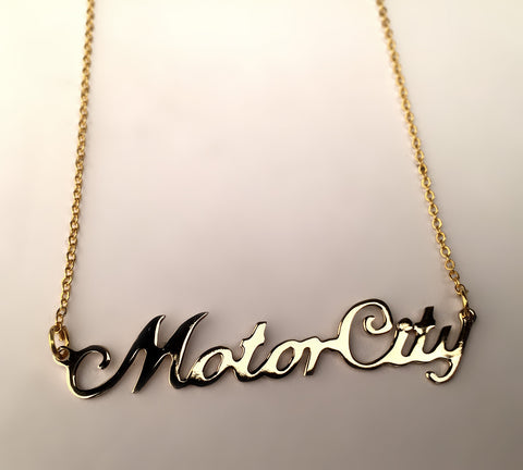 Gold Motor City, Detroit Script Necklace by Well Done Goods
