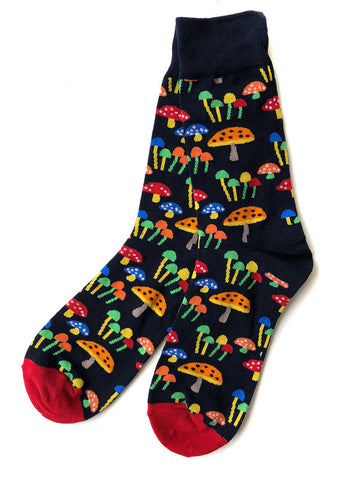 Mushroom Men's Socks. 70s Inspired 'Shrooms. Well Done Goods