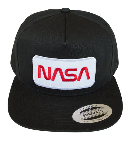 NASA Worm Logo Black Snapback Cap, Well Done Goods