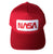 NASA Worm Logo Snapback Cap, red. Well Done Goods