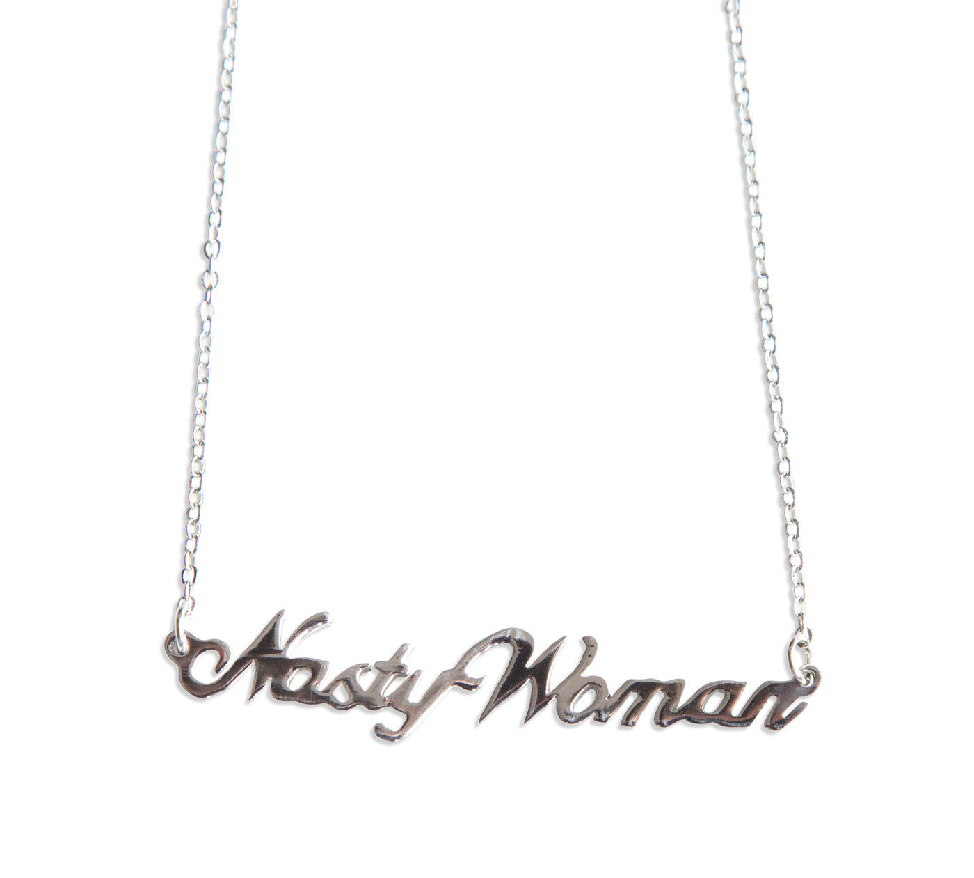 Nasty woman script necklace pendant by well done goods nasty woman silver script necklace pendant by well done goods aloadofball Image collections