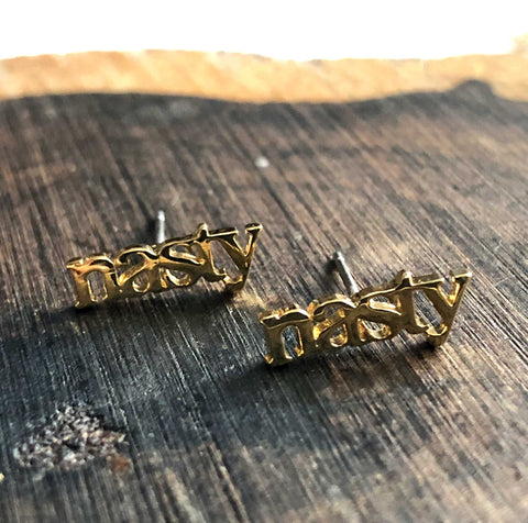 "Tiny ""Nasty"" Stud Earrings, Gold"