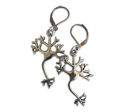 Axon & Dendrite, Silver Neuron Nerve Cell Earrings, Well Done Goods