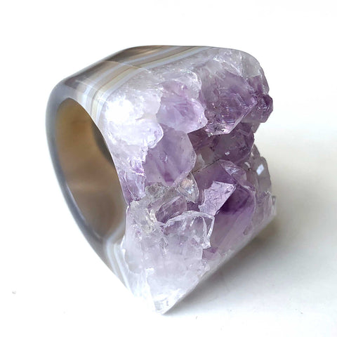 Amethyst Raw Stone Geode Ring, Large Crystal Chunky Ring