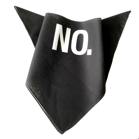 No., Black Cotton Bandana. Face Cover, Full Square - Hand Made in Detroit, USA