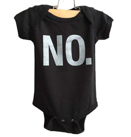 NO. Baby Onesie, Black Text Print Creeper, Well Done Goods