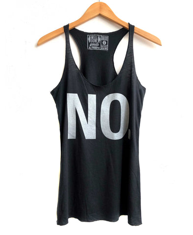 No. Text Printed Tank Top, women's black racerback tank, at Well Done Goods