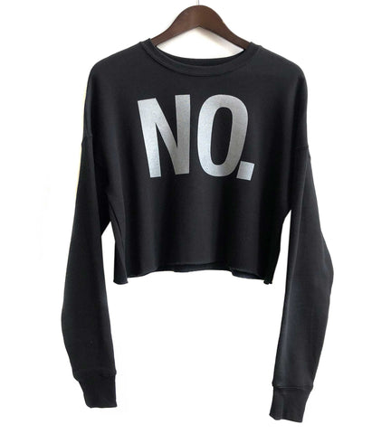 No., Text Printed Women's Cropped Black Crew Neck Sweatshirt