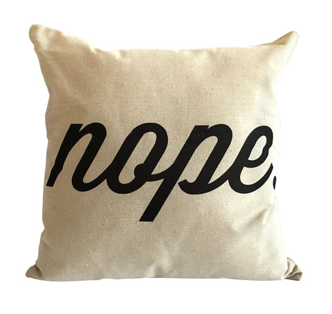 Nope Throw Pillow, Script Print