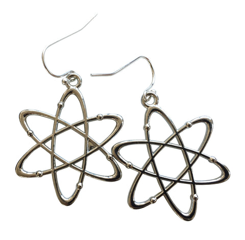 Atomic Model Silver Dangle Earrings, Well Done Goods