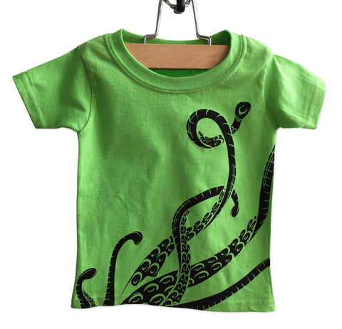 Octopus Tentacle Print Toddler T-Shirt, Lime Green. Well Done Goods by Cyberoptix