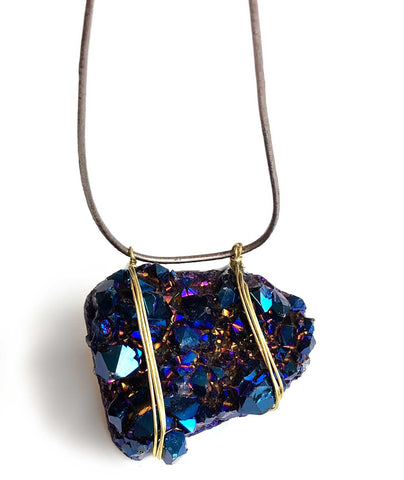 Crystal Cluster Necklace. Titanium Flame Aura Coated Druzy, Iridescent Blue