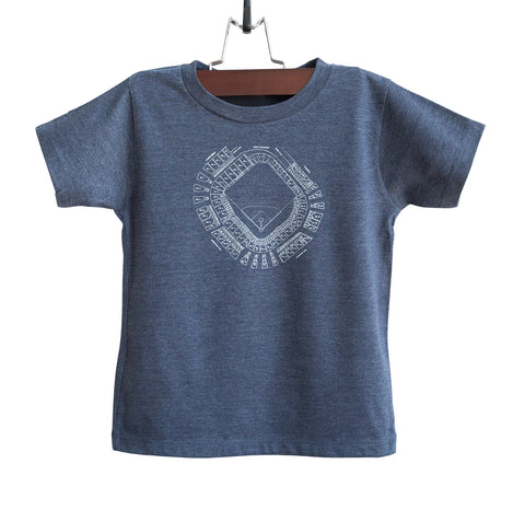 Old Tiger Stadium, Navin Field Blueprint White on Heather Navy Toddler T-Shirt, Well Done Goods