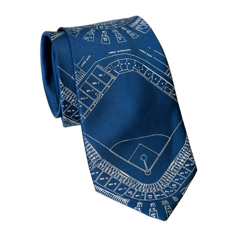 Old Tiger Stadium Blueprint Necktie, Ivory-Cream on French Blue Tie, Well Done Goods