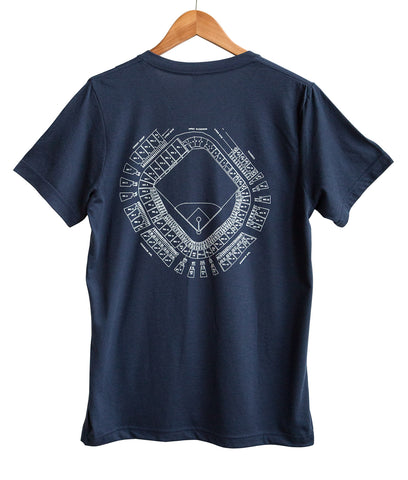 Old Tiger Stadium Blueprint White on Navy V-Neck Tee, Well Done Goods