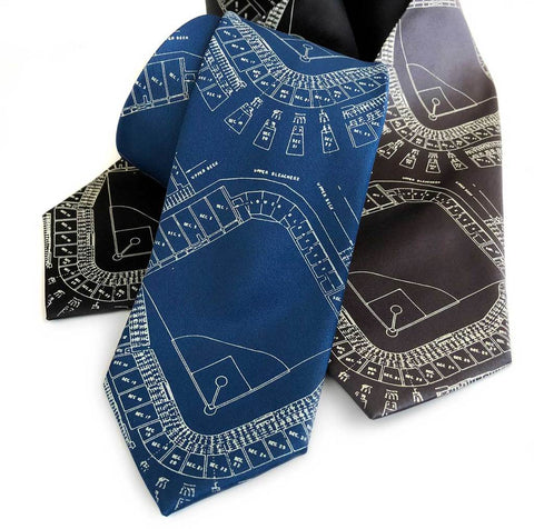 Old Tiger Stadium Blueprint Neckties, Historic Detroit Ties, Well Done Goods