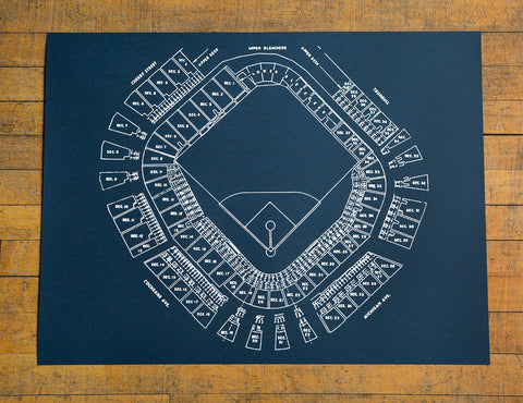 "Old Tiger Stadium Blueprint Silkscreened Poster, Navin Field Print 19""x 25"", Well Done Goods"