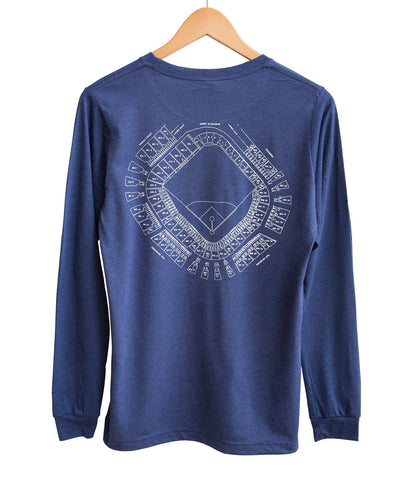 Old Tiger Stadium, Navin Field Blueprint Long Sleeve Shirt