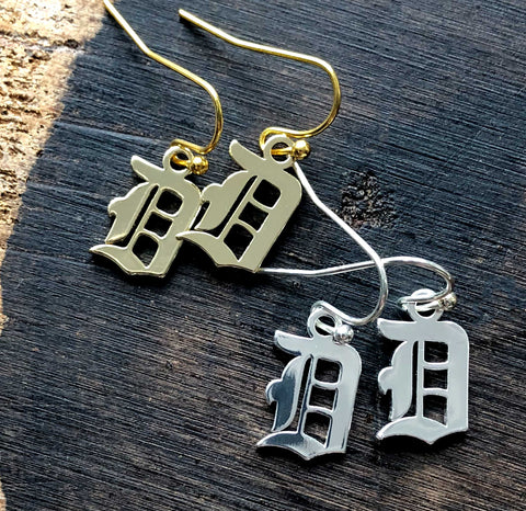Old English D, Detroit Dangle Earrings