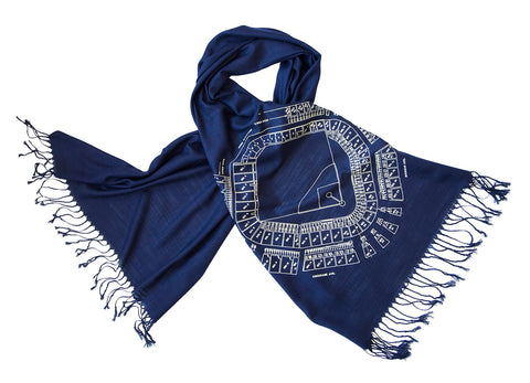 Old Tiger Stadium Blueprint Scarf, Historic Detroit Linen-Weave Pashmina, by Cyberoptix