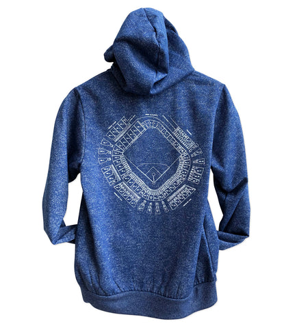 Old Tiger Stadium Blueprint, Digital Blue Navin Field Unisex Pullover Hoodie, Well Done Goods